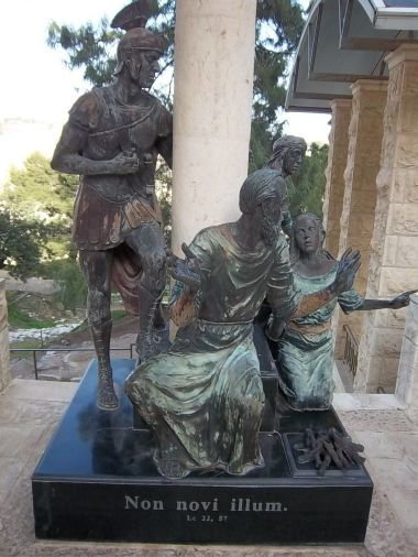 Statue of Peter, located outside the house of Caiaphas, depicting his denial of Jesus.