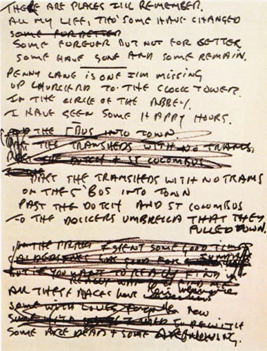 "John's handwritten original lyrics for ""In My Life."""