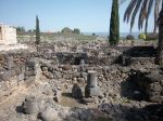 Ruins of houses in Capernaum. The houses were made of stone with thatched roofs.