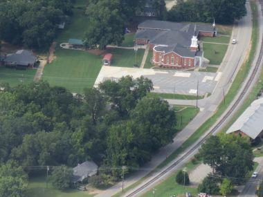 An aerial view of Hampton UMC.