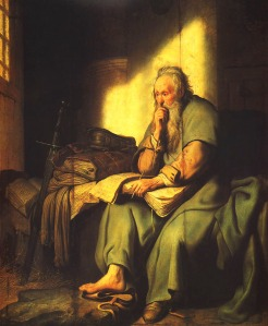 """St. Paul in Prison"" by Rembrandt."