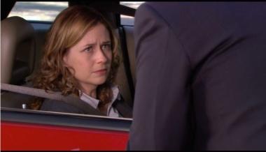 Pam (Jenna Fischer) listens to Michael's pep talk.