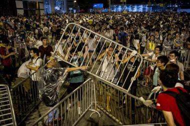 Students protesting in Hong Kong.