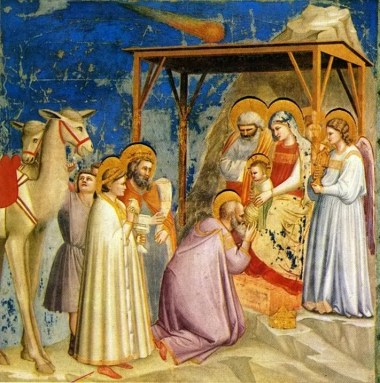 "Giotto's ""Adoration of the Magi, courtesy of Wikimedia Commons."