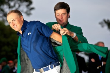 Jordan Spieth winning the coveted green jacket.